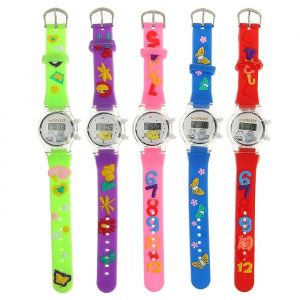 """Часы наручные детские """"Зверята"""", электронные, с силиконовым ремешком, микс 1035880"""