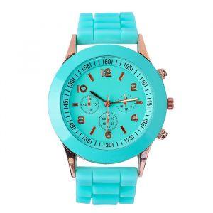 """Часы наручные """"Женева"""" с силиконовым ремешком, d=3.5 см, бирюзовые   4447475"""