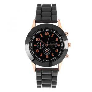 """Часы наручные """"Женева"""" с силиконовым ремешком, d=3.5 см, черные   4447474"""