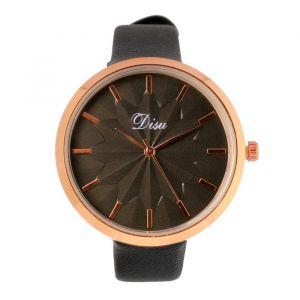 """Часы наручные женские """"Disu"""", ремешок из экокожи, черные   4407011"""