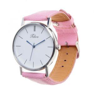 Часы наручные, d=4см хром, розовый ремешок 20 мм 3621006