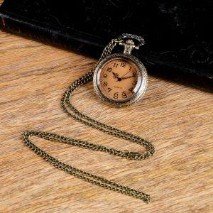 "Часы карманные ""Бронзовый каркас"", кварцевые, на цепочке 80 см, d=4.5 см 1207146"