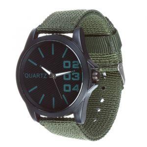 Часы наручные, d=4.5см черные, зеленый ремешок 20мм 3620990