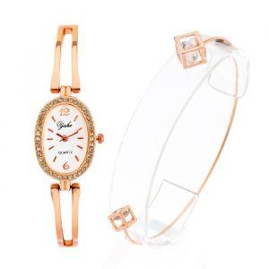 """Подарочный набор 2 в 1 """"Геометрия"""": наручные часы и браслет, цвет золото   4407082"""