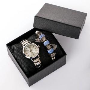 """Подарочный набор 2 в 1 """"Каабон"""": наручные часы и браслет микс  4508140"""