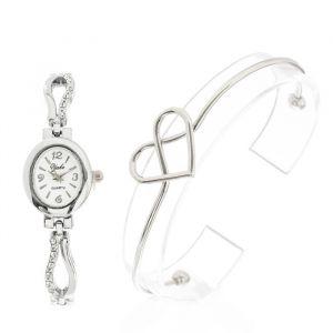 """Подарочный набор 2 в 1 """"Сердечко"""": наручные часы и браслет, цвет серебро   4407083"""
