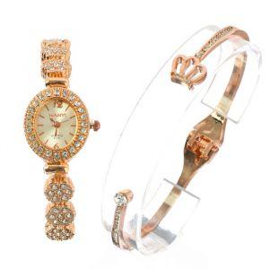 """Подарочный набор 2 в 1 """"Цветок"""": наручные часы и браслет, золото   4407081"""