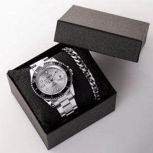 """Подарочный набор 2 в 1 """"Этелберт"""": наручные часы и браслет   4508124"""