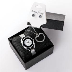 """Подарочный набор 3 в 1 """"Питуиль"""": наручные часы, кулон сердечко, микс  и серьги   4508116"""