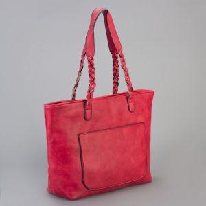 Сумка женская на молнии, 1 отдел с перегородкой, 2 наружных кармана, цвет красный