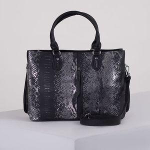 Сумка женская, отдел на молнии, 2 наружных кармана, длинный ремень, цвет чёрный/серебро
