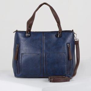 Сумка женская, отдел на молнии, 3 наружных кармана, длинный ремень, цвет синий