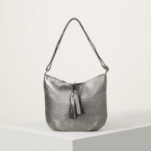 Сумка женская, отдел на молнии, наружный карман, цвет серебро