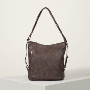 Сумка-рюкзак, отдел с перегородкой на молнии, 3 наружных кармана, цвет коричневый