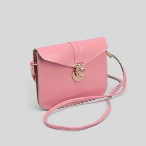 Сумка женская, отдел на клапане, длинный ремень, цвет розовый