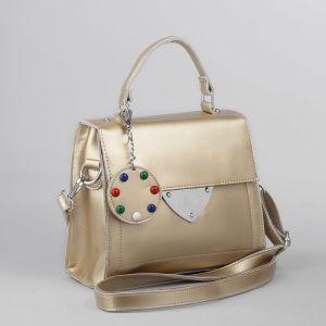 Сумка женская, отдел на молнии, наружный карман, длинный ремень, цвет золотой