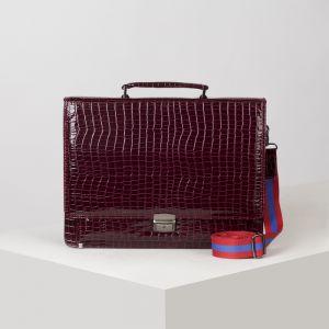 Папка деловая, 2 отдела на клапане, 2 наружных кармана, длинный ремень, цвет бордовый
