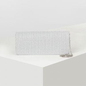 Клатч женский, отдел на клапане, длинная цепь, цвет серебро