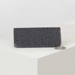 Клатч женский, отдел на клапане, длинная цепь, цвет серый