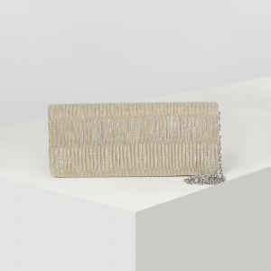 Клатч женский, отдел на клапане, длинная цепь, цвет золото