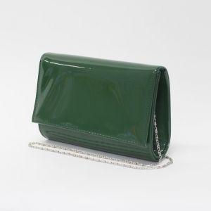 Клатч женский, отдел на клапане, длинная цепь, цвет зелёный