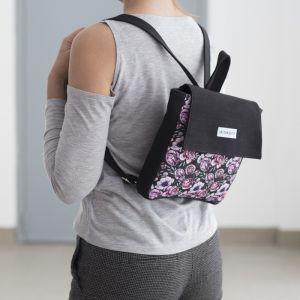 Рюкзак молодёжный, отдел на молнии, цвет чёрный/фиолетовый