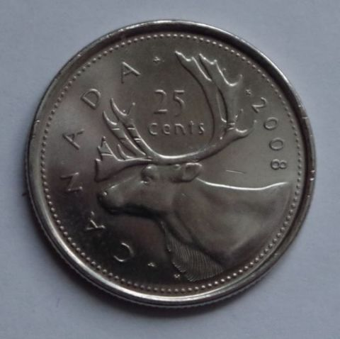 25 центов 2008 года Канада UNC