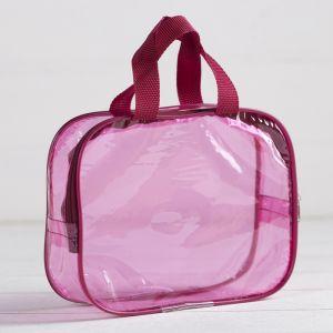 Косметичка ПВХ, отдел на молнии, с ручками, цвет розовый