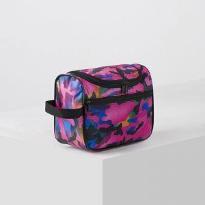 Косметичка сумочка, отдел на молнии, наружный карман, цвет камуфляж розовый