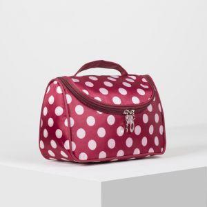 Косметичка-сумка, отдел на молнии, зеркало, цвет белый/бордовый