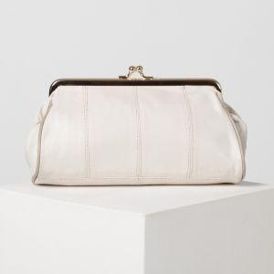 Косметичка-фермуар, отдел на рамке, наружный карман, цвет бежевый