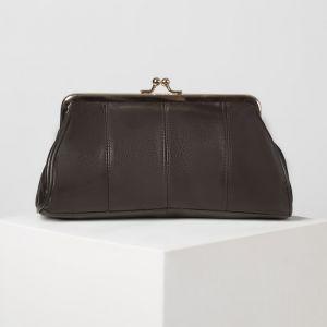 Косметичка-фермуар, отдел на рамке, наружный карман, цвет коричневый