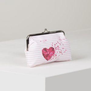Косметичка-фермуар, отдел на рамке, цвет белый/розовый