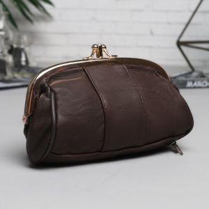 Косметичка-фермуар, 2 отдела на рамке, 2 наружных кармана, цвет коричневый