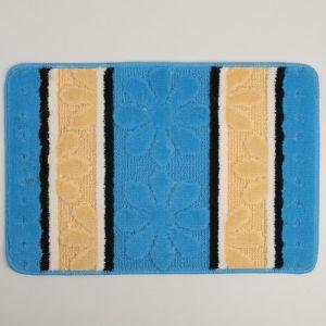 Коврик «Цветы», 40?60 см, цвет синий