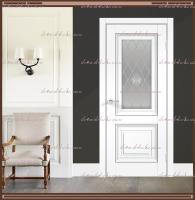 Межкомнатная дверь ALTO 7 Остекленное SoftTouch структурный Ясень белый, стекло - Crystal Glass Ice :