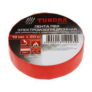 Изолента TUNDRA, ПВХ, 19 мм х 20 м, 130 мкм, красная   1312223