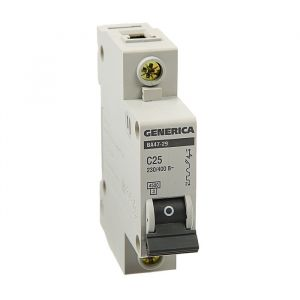 Выключатель автоматический IEK GENERICA ВА47-29, 1п, 25 А, 4.5 кА, хар-ка С 3742514