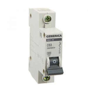 Выключатель автоматический IEK GENERICA ВА47-29, 1п, 63 А, 4.5 кА, хар-ка С 3742518