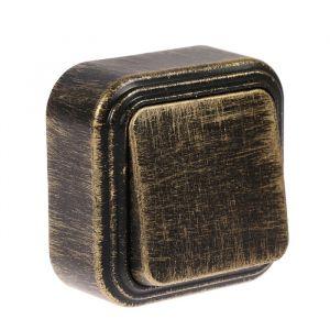 """Выключатель """"Элект"""" VA 16-131-ЧБ, 6 А, 1 клавиша, наружный, цвет черный под бронзу 4022499"""