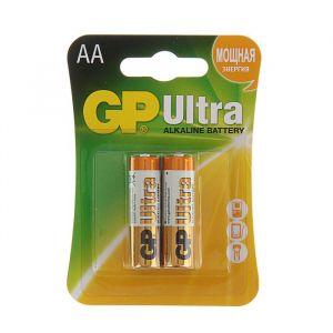 Батарейка алкалиновая GP Ultra, AA, LR6-2BL, 1.5В, блистер, 2 шт. 1528607