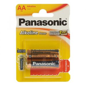 Батарейка алкалиновая Panasonic Alkaline Power, AA, LR6-2BL, 1.5В, блистер, 2 шт, 1035265
