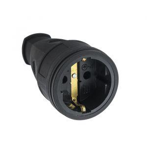 Розетка переносная 15-005, 16 А, 250 В, IP20, с з/к, без заглушки, каучук, черная 4652075