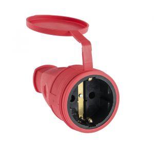 Розетка переносная 16-005, 16 А, 250 В, IP44, с з/к, с заглушкой, каучук, красная   4652071