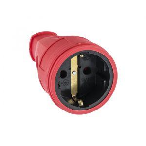Розетка переносная, 16 А, 250 В, IP20, с з/к, без заглушки, каучук, красная   4652076