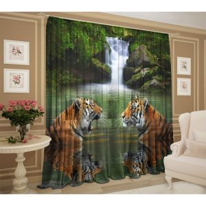 Тюль Тигры у водопада 147х267 +/- 3см, 2шт, шифон, п/э 2907606