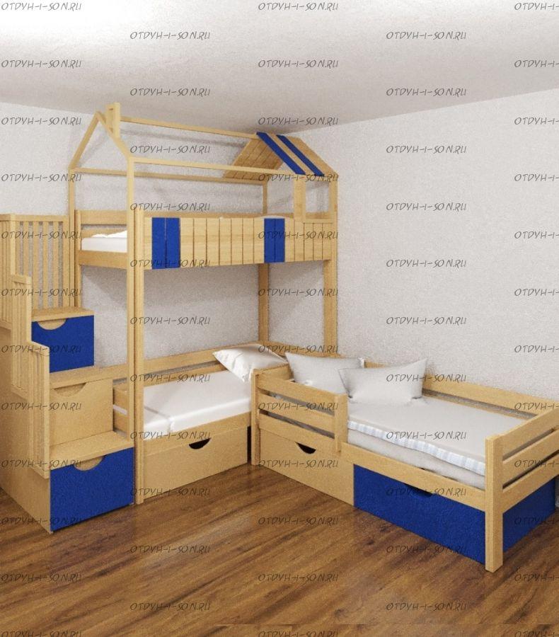 Кровать трехъярусная домик Standard №6