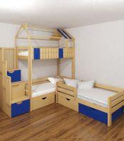 Кровать трехъярусная домик угловой Standard