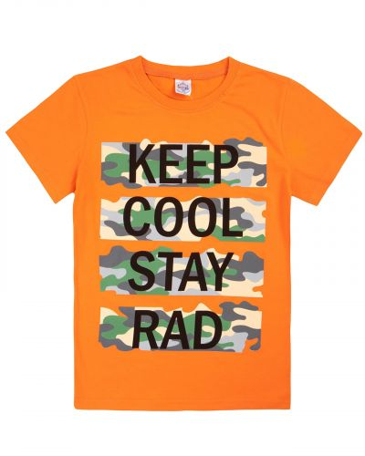 "Футболка для мальчиков 8-12 лет Bonito ""Keep Cool Stay"" оранжевая"