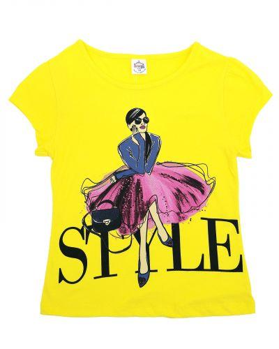 "Футболка для девочек 8-12 лет Bonito ""Style"" желтая"
